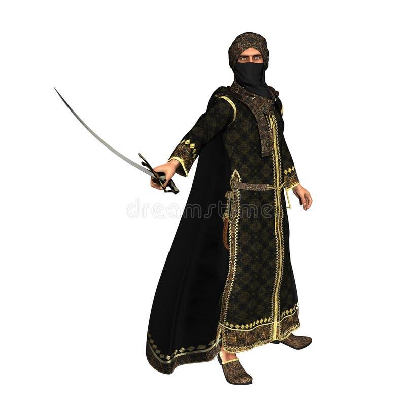 Príncipe muçulmano do guerreiro com espada da cimitarra ilustração royalty free