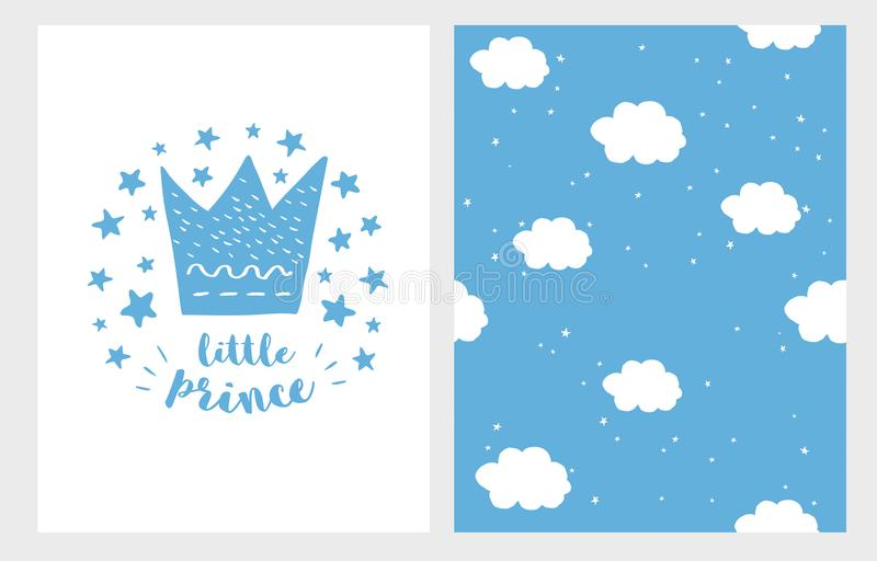 Príncipe pequeno Grupo tirado mão de Illustriation do vetor da festa do bebê Coroa, estrelas e letras azuis em um fundo branco ilustração do vetor