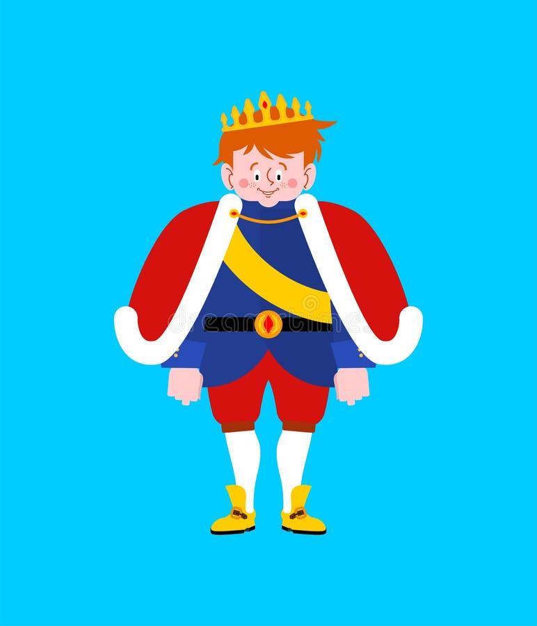 Príncipe pequeno isolado Menino na coroa Filho real Illustra do vetor ilustração royalty free