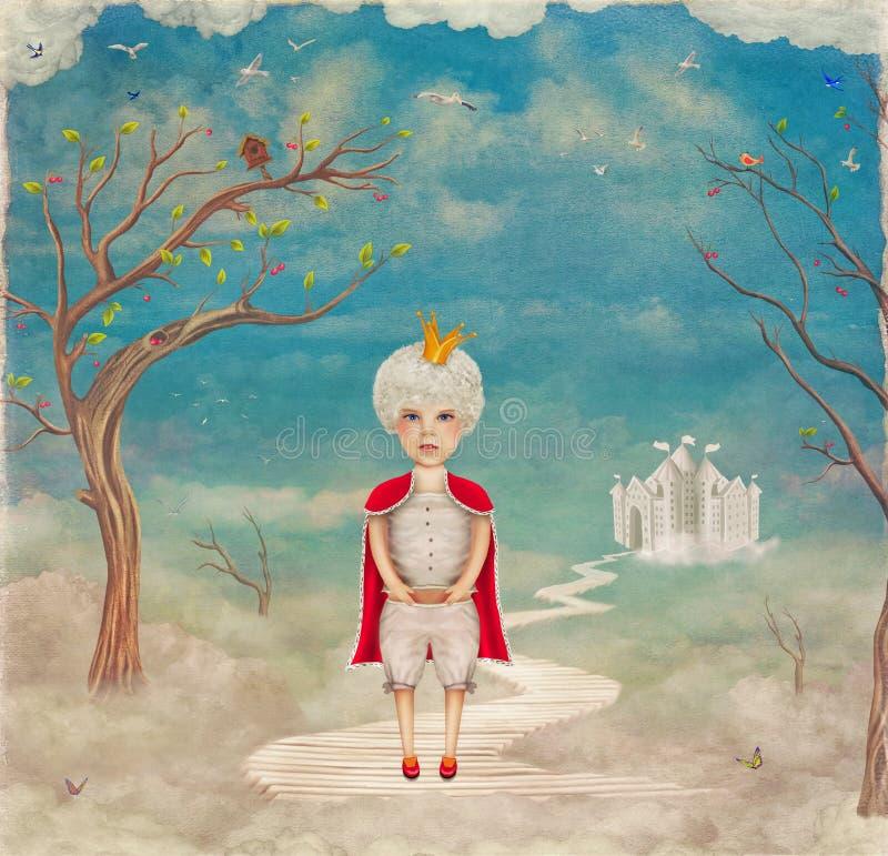 Príncipe pequeno na ponte perto do castelo no céu bonito ilustração royalty free