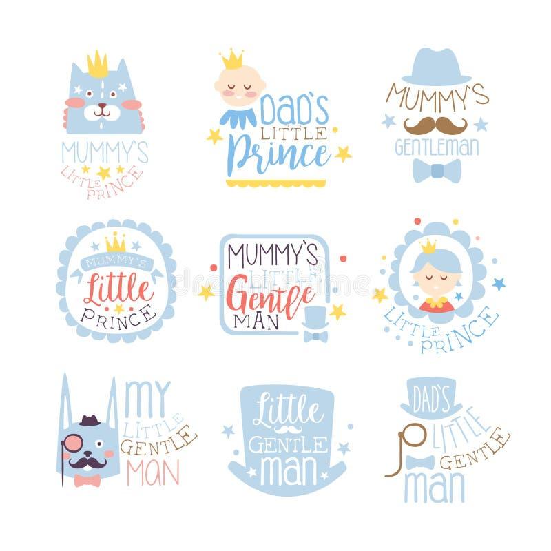 Príncipe pequeno Set Of Prints para moldes infantis do projeto da sala ou da roupa do menino na cor cor-de-rosa e azul ilustração royalty free