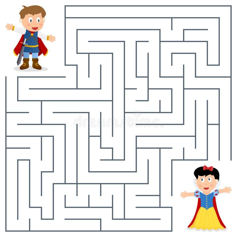 Príncipe & princesa Maze para crianças ilustração do vetor