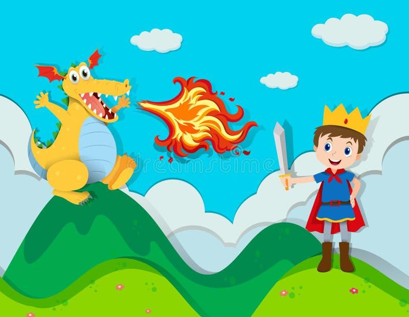 Príncipe que luta com o dragão ilustração do vetor