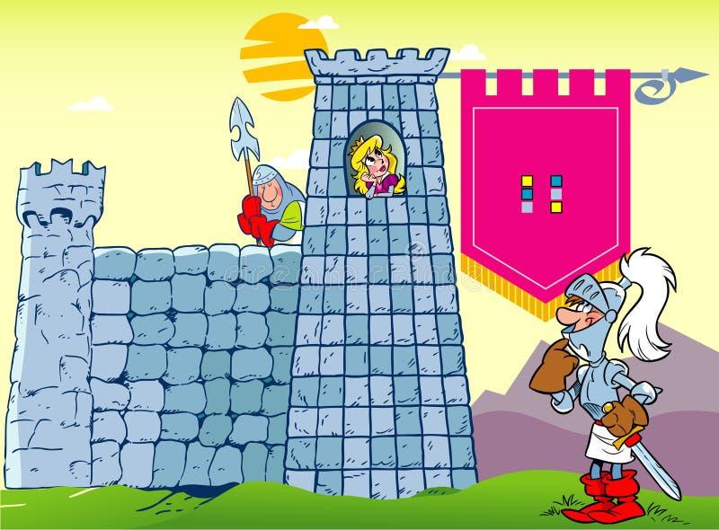 Príncipe y castillo con la princesa stock de ilustración
