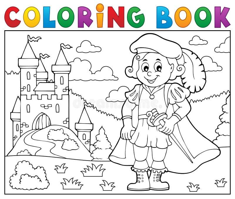 Príncipe y castillo 2 del libro de colorear ilustración del vector