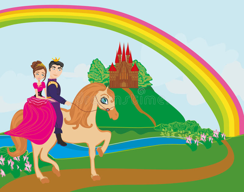 Príncipe y príncipes que montan en caballo ilustración del vector