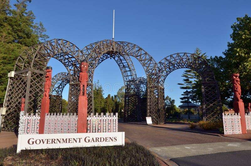 Príncipes Gate Archway Rotorua Nueva Zelanda imágenes de archivo libres de regalías