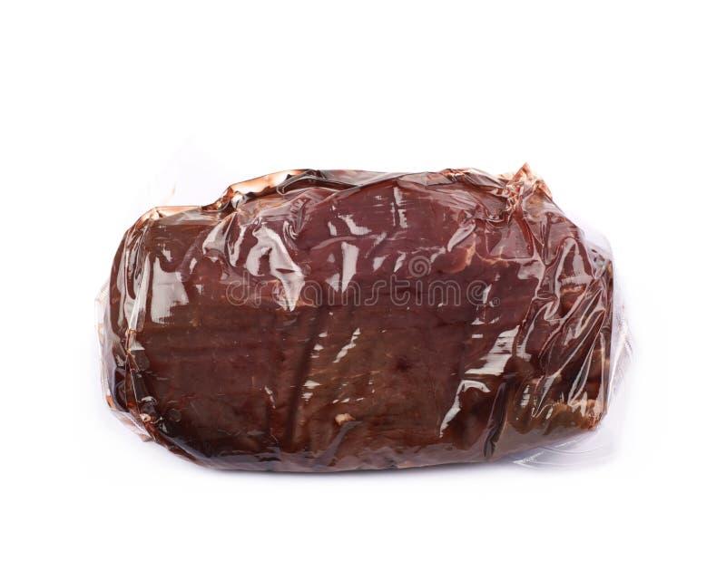 Próżnia - upakowany wołowiny mięso fotografia royalty free