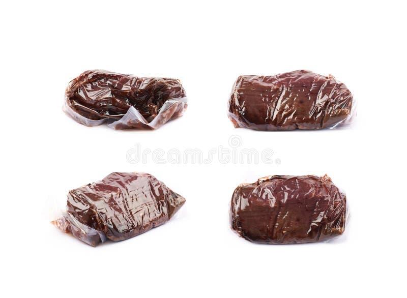 Próżnia - upakowany wołowiny mięso odizolowywający zdjęcia royalty free