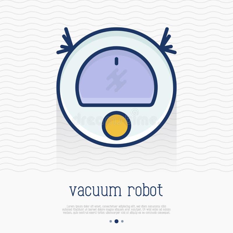 Próżniowego robota cienka kreskowa ikona ilustracji