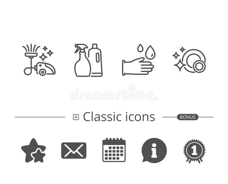Próżniowy Cleaner, Czyści naczynia i Gumowe rękawiczki royalty ilustracja