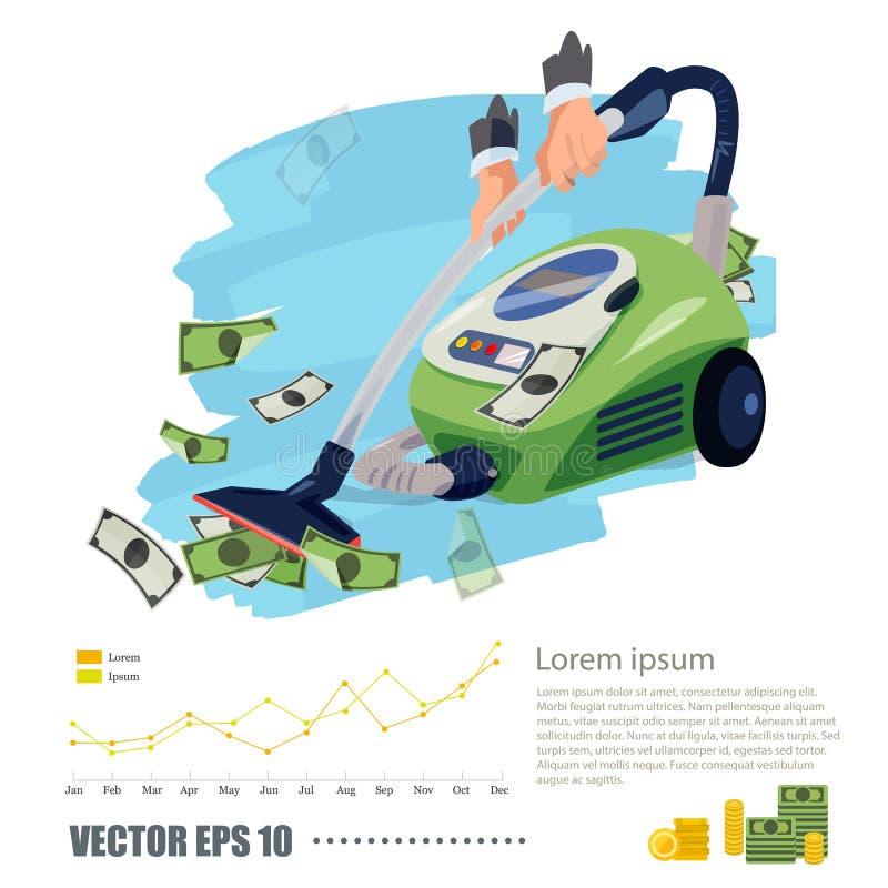 Próżniowy cleaner ssa pieniądze bogaty i biznesowy pojęcie - wektor ilustracja wektor