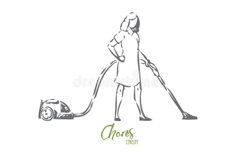 Próżniowy czyści pojęcia nakreślenie Odosobniona wektorowa ilustracja ilustracji