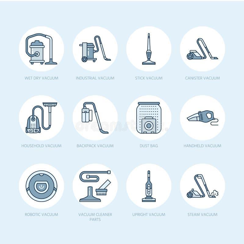 Próżniowych czyścicieli mieszkania linii ikony Różne próżnie pisać na maszynie - przemysłowy, gospodarstwo domowe mechaniczny, ha royalty ilustracja