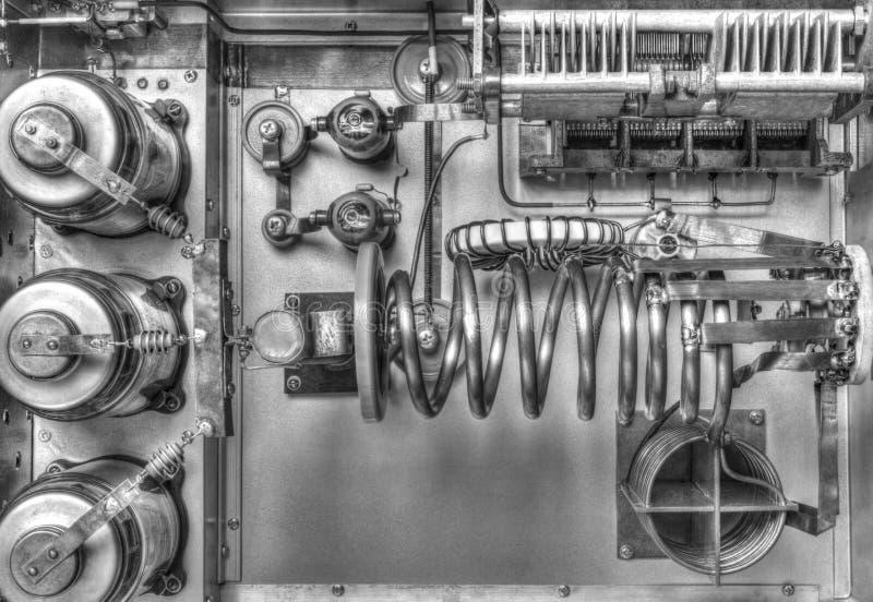 Próżniowych tubk shortwave władzy amplifikator w czarny i biały zdjęcie stock