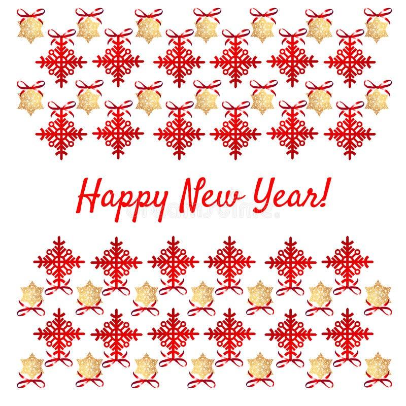 Próbka Bożenarodzeniowy plakat z czerwonymi płatkami śniegu, złoto gwiazdy, partyjny zaproszenie, opakunkowy papier i inny, karty royalty ilustracja