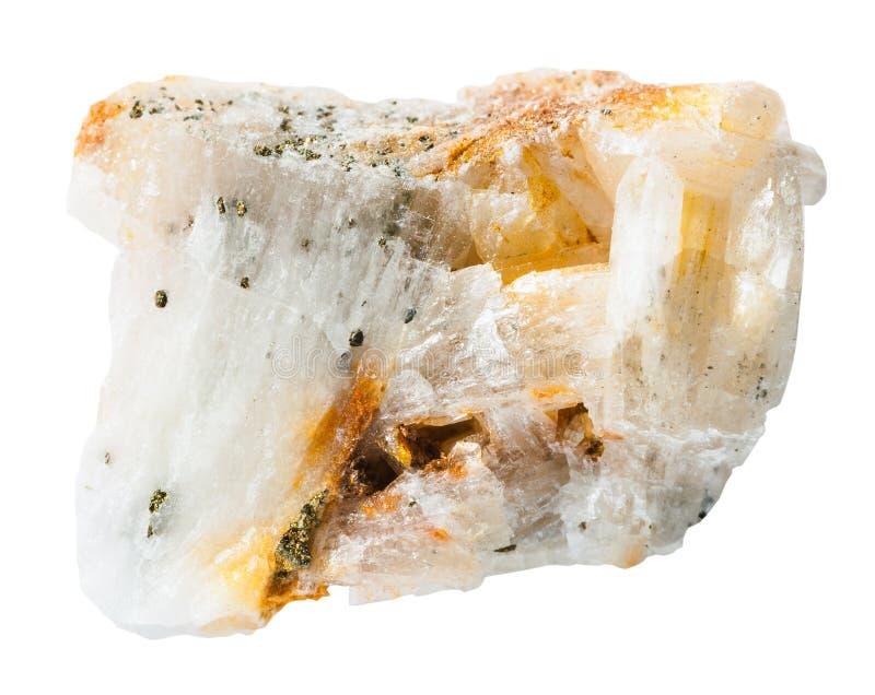 Próbka kwarc skała z złocistymi bryłkami obrazy royalty free