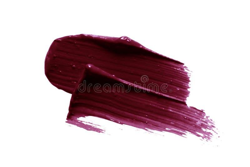 Próbka smugi ciemnego szminki Śliwkowy pędzel produktu kosmetycznego wyizolowany na białym tle zdjęcie stock
