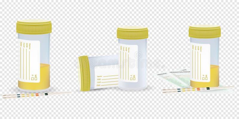 Próbka uryna Laborancka analiza uryna używać próbnych paski abstrakcjonistycznych t?a b??kitny guzika kolor?w glansowani ilustrac royalty ilustracja