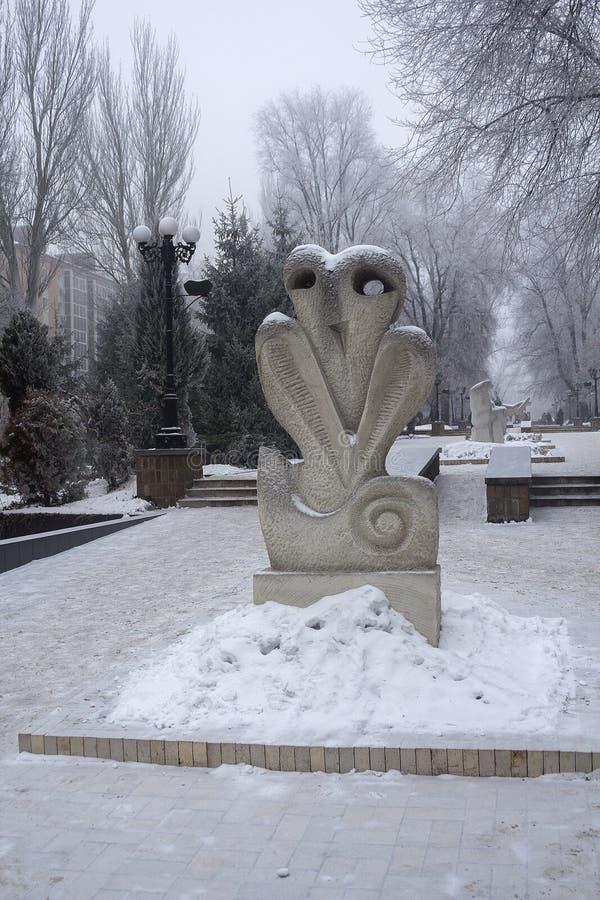 Próbki dzisiejsza ustawa na śnieżystym bulwarze donetsk zdjęcia stock