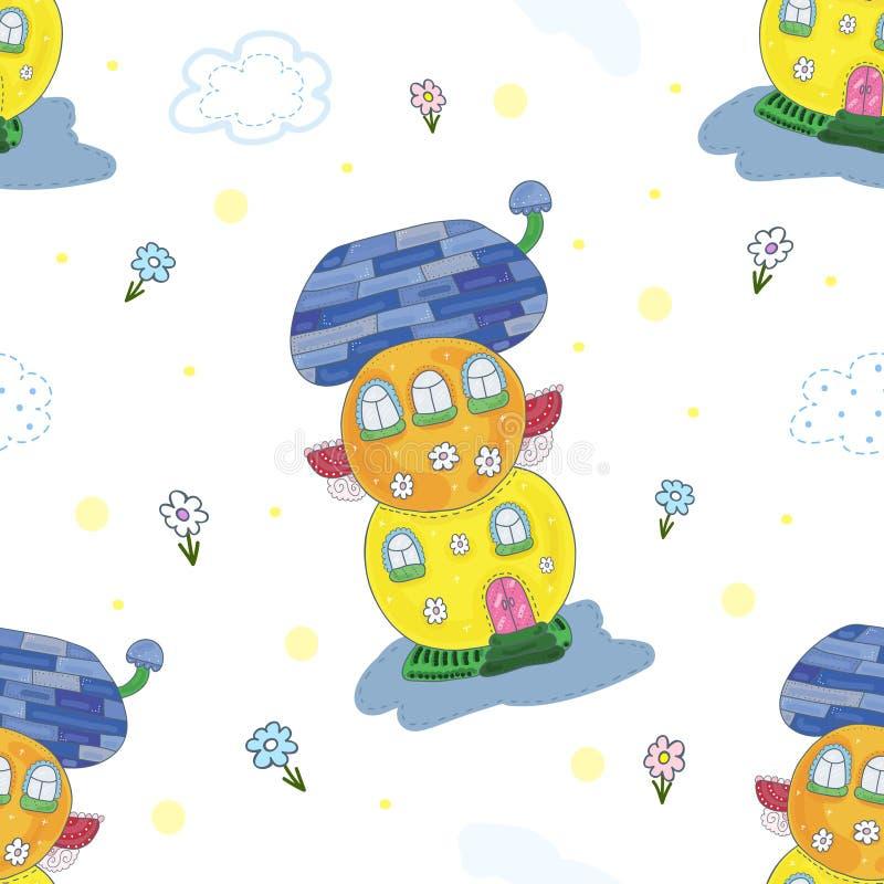 Próbki komiczki wzoru tło Bajka kolorowy śliczny dom w kreskówka stylu ilustracji