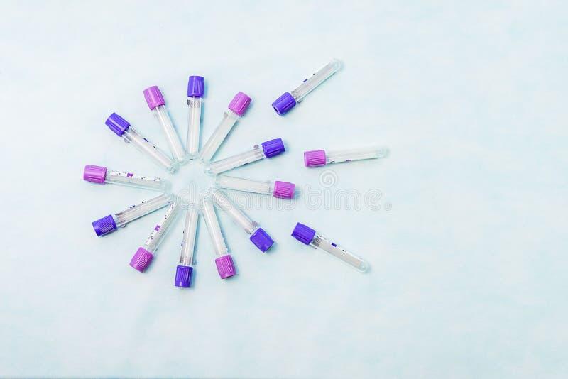 Próbne tubki dla laboranckiej diagnozy dla badań krwi, obraz royalty free