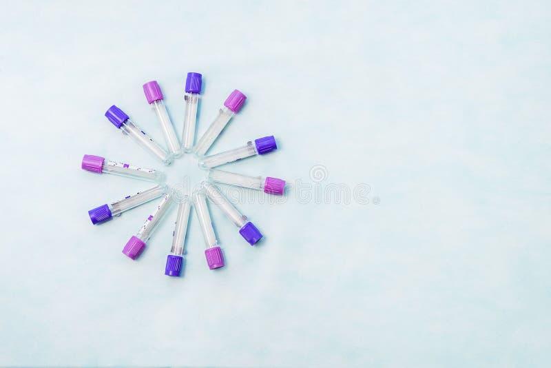 Próbne tubki dla laboranckiej diagnozy dla badań krwi, zdjęcie royalty free