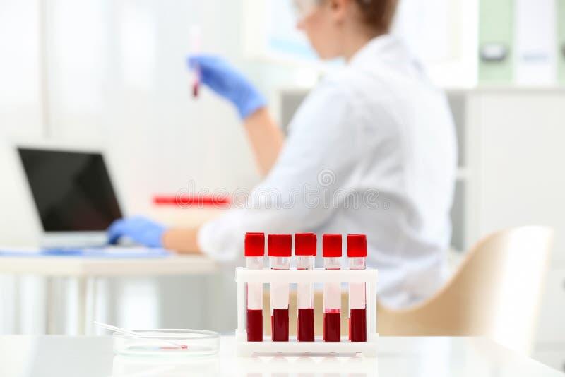 Próbne tubki z próbkami krwi i naukowa działaniem obraz stock