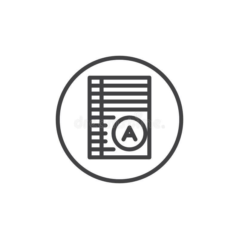 Próbny papier z znakomitą oceny linii ikoną ilustracji