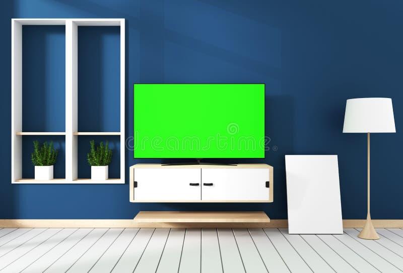 Próbny uSmart Tv z pustym czerń ekranu obwieszeniem na gabinetowym projekcie, nowożytny żywy pokój z zmrokiem - błękit ściana na  ilustracji