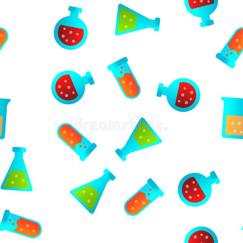 Próbnych tubk I kolb Wektorowy Bezszwowy wzór ilustracja wektor