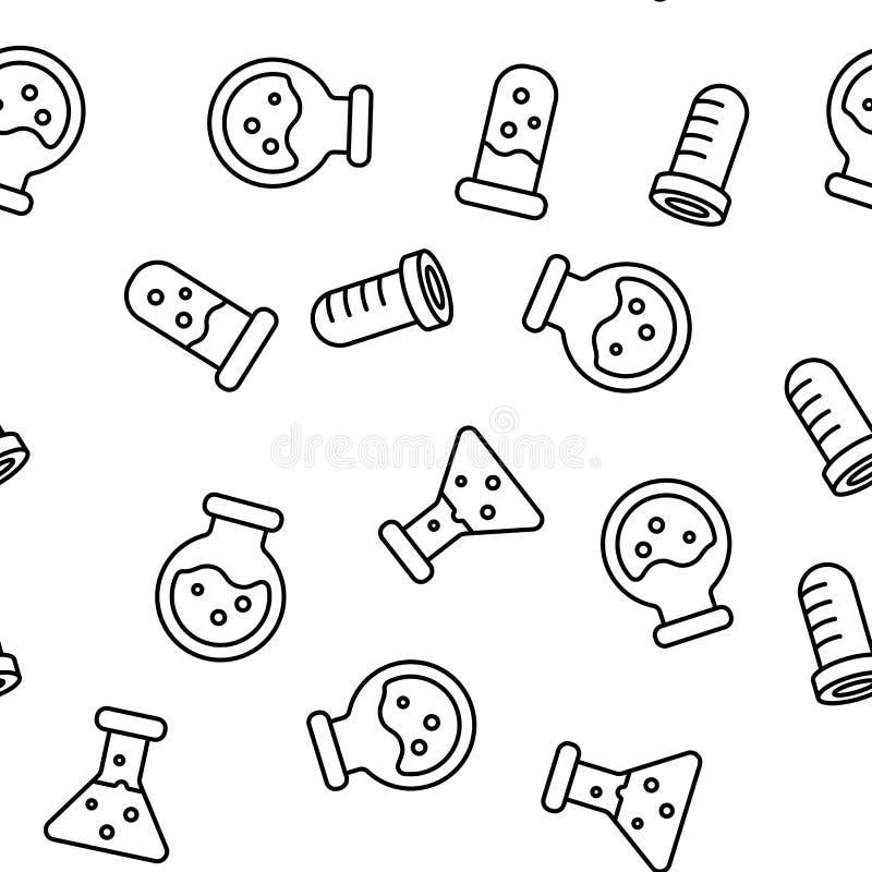 Próbnych tubk I kolb Wektorowy Bezszwowy wzór ilustracji