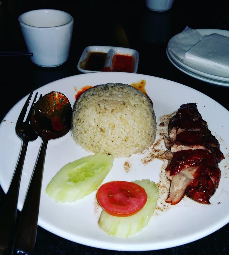 Próbuje wyśmienicie Chińskiego jedzenie kurczaków ryż obrazy royalty free