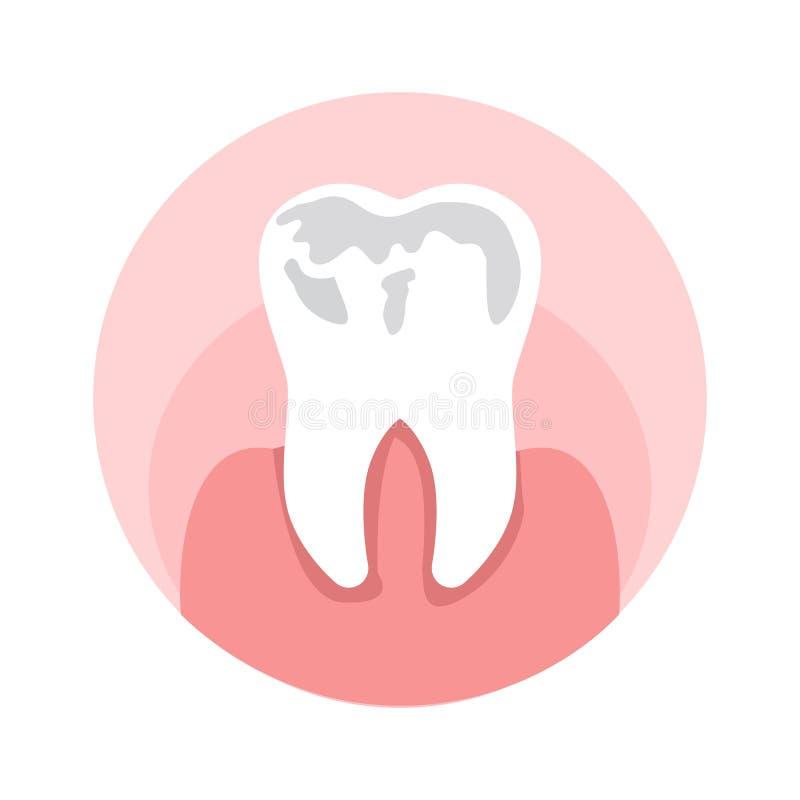 Próchnicy, dziury w ząb Płaskiej Wektorowej ilustracji ilustracji