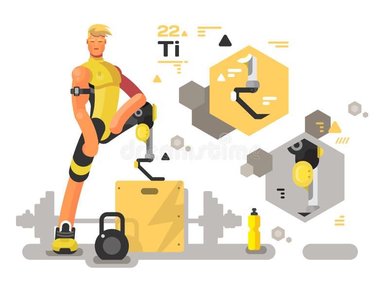 Prótese para o esporte e a aptidão ilustração royalty free