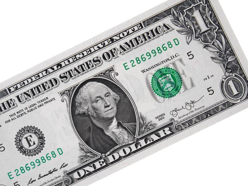 Próximo da nota de dólar dos EUA um isolado acima no dinheiro branco, americano c imagem de stock
