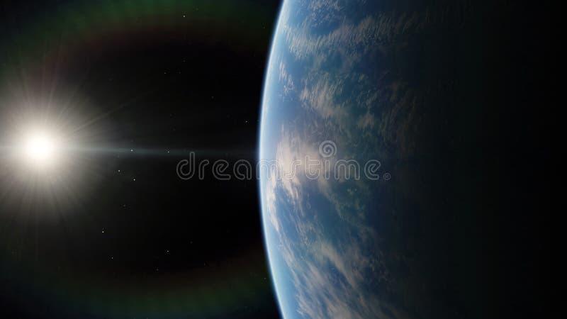 Próximo, planeta azul da órbita de baixa terra Elementos desta imagem fornecidos pela NASA foto de stock royalty free