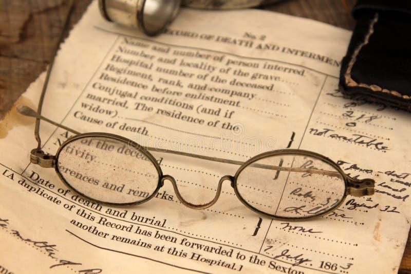 Prövkopia av dödsbeviset på krigbeträffande-lag Gettysburg, Pennsylvania, Maj, 2013 arkivfoton