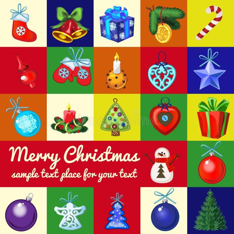 Prövkopiadesign av plakatet med attribut av det nya året och julen Skissa av affischen, partiinbjudan och annan royaltyfri illustrationer