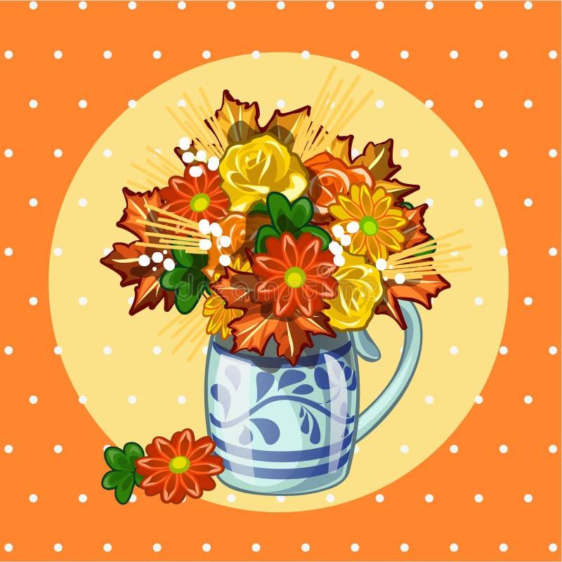 Prövkopiadesign av plakatet med den gulliga buketten av torkade blommor på prickbakgrund Skissa av affischen, vykortet, räkning stock illustrationer