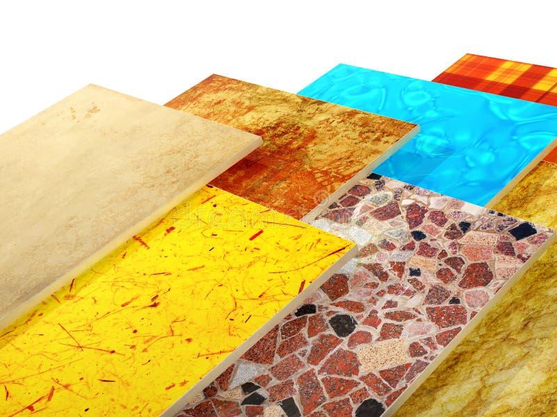 Prövkopior av keramiska tegelplattor stock illustrationer
