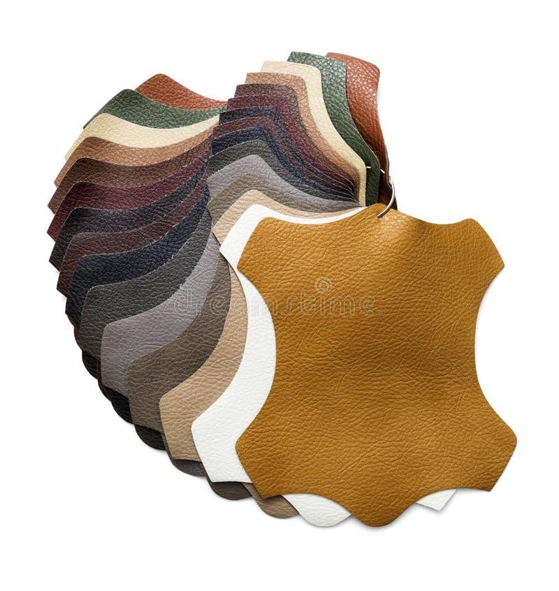 Prövkopior av konstgjort läder arkivfoton