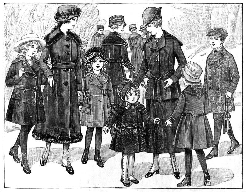 Prövkopior av trendig kläder från en tidskrift för gammal stil royaltyfria foton