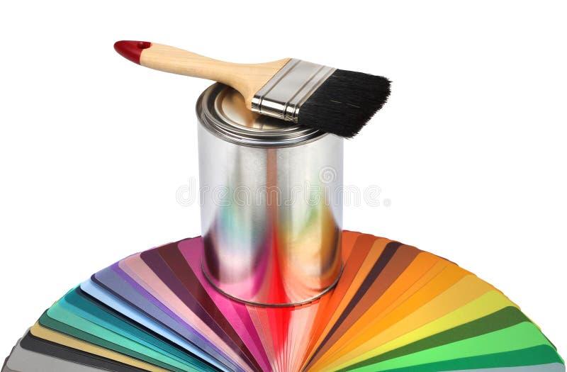 Prövkopior för handbok för målarfärgborste och färg arkivfoto
