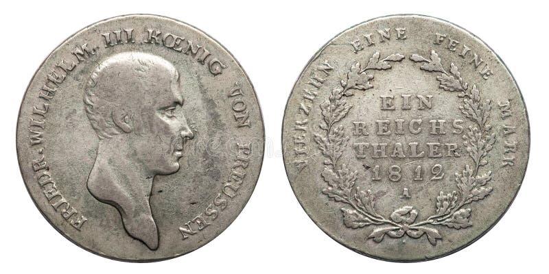 Prússia de Alemanha da moeda de prata 1 império alemão de Friedrich 1812 do taler fotos de stock royalty free