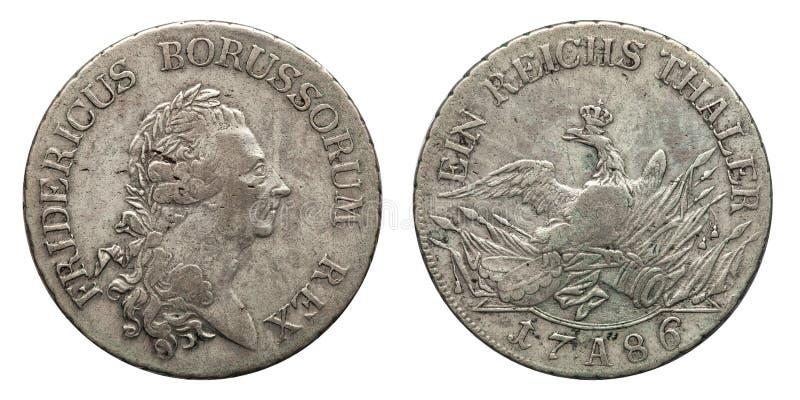 Prússia de Alemanha da moeda de prata 1 taler Friedrich 1786 imagem de stock