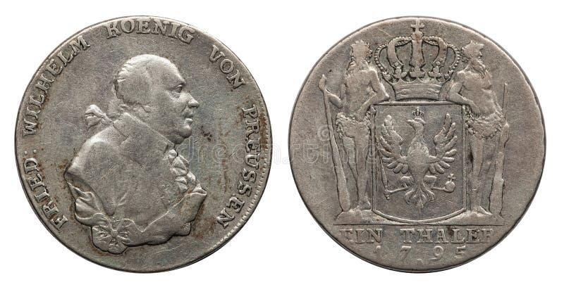 Prússia de Alemanha da moeda de prata 1 taler 1795 imagem de stock royalty free