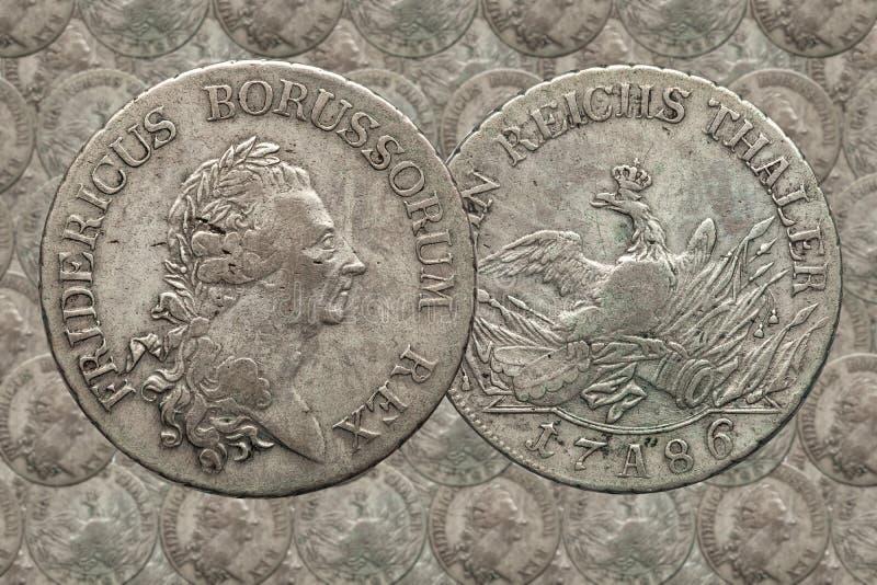 Prússia do império do alemão da moeda de prata 1 taler Fredericus 1786 fotografia de stock royalty free