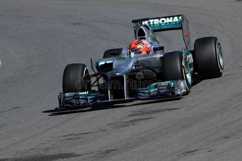 Prüfen Sie F1 Mugello Michael Schumacher 2012 lizenzfreies stockfoto