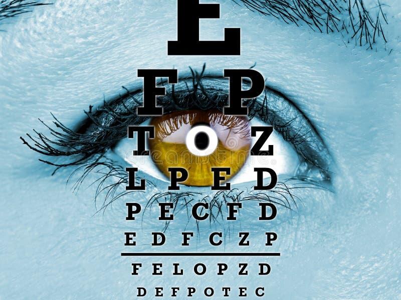 Prüfen Sie weibliches Augenmakro des Visionsdiagramms stockfotografie